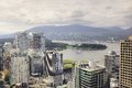 Aerial view of the city center on june in vancouver canada Stock Photo