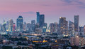 Aerial view city downtown twilight time Royalty Free Stock Photo