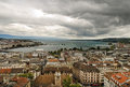 Aerial view of city of geneva and lake in switzerland europe Royalty Free Stock Photos