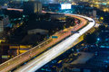 Aerial view city highway road curved at night Royalty Free Stock Photo