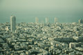 Aerial view of the City of Tel Aviv, Israel on hazy day Royalty Free Stock Photo