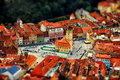 Aerial view of city with tilt-shift effect. Romania. Royalty Free Stock Photo