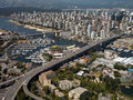 Aerial view of the city of vancouver canada granville harbour and bridge in false creek burrard bridge and in british columbia Stock Image