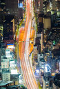 Aerial view cityscape and road during busy hour Royalty Free Stock Photo