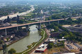 Aerial view of Cleveland, Ohio river Royalty Free Stock Photo