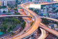 Aerial view, close up highway intersection S curved Royalty Free Stock Photo