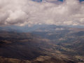 Aerial view clouds over andes mountains in cusco peru Stock Photos