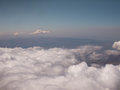 Aerial view clouds over andes mountains in cusco peru Stock Image