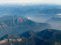 Aerial view of coast mountain ranges in BC Canada Stock Image