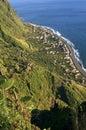 Aerial view of coastal village at Atlantic Ocean Royalty Free Stock Photo