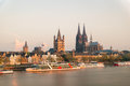 Aerial view Cologne over the Rhine River with cruise ship Royalty Free Stock Photo