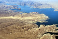 Aerial view of Colorado River and Lake Mead Royalty Free Stock Photo