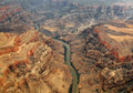 An aerial view of the colorado river running through the grand canyon Stock Photo