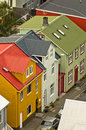 Aerial view at colorful architecture downtown of reykjavik capital iceland Royalty Free Stock Image