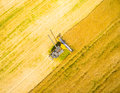 Aerial view of combine harvester. Royalty Free Stock Photo