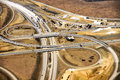 Aerial view of construction of new freeway ramp in the american southwest Royalty Free Stock Image