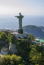 Aerial view of corcovado mountain and christ the redemeer in rio redeemer with de janeiro s atlantic background Royalty Free Stock Images