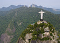 Aerial view of corcovado mountain and christ the redemeer in rio redeemer with de janeiro s mountains background Stock Photo