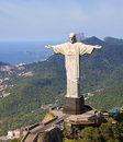 Aerial view of corcovado mountain and christ the redemeer in rio redeemer with de janeiro s mountains background Royalty Free Stock Photography