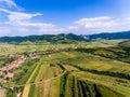 Aerial view of Costesti Village in Apuseni Mountains Romania Royalty Free Stock Photo