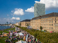 Aerial view of crowd of people during national Alp holiday in Dusseldorf, Germany Royalty Free Stock Photo