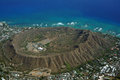 Aerial view of Diamondhead Crater Royalty Free Stock Photo