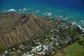 Aerial view of Diamondhead, Kapiolani Park, neighborhood Royalty Free Stock Photo