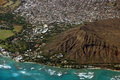 Aerial view of Diamondhead, Kapiolani Park, Waikiki, Shell, Kapa Royalty Free Stock Photo