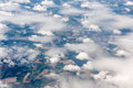 Aerial view of different cloud formations Royalty Free Stock Photo