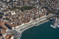 Aerial view diocletian palace old part town seaside town split croatia Royalty Free Stock Photos