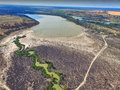 Aerial view of drought affected wetlands River Murray Royalty Free Stock Photo