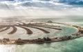 Aerial view of Dubai Palm Jumeirah Island, UAE Royalty Free Stock Photo