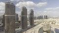 Aerial View Of Dubai Skyscrapers Along Jumeirah Lake Towers