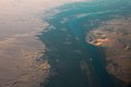 Aerial view of egypt desert and nile river from the sky Stock Images
