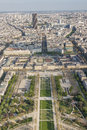 Aerial view from eiffel tower on champ de mars paris france Stock Photos