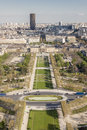 Aerial view from eiffel tower on champ de mars paris france Royalty Free Stock Photos