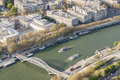 Aerial view from eiffel tower on seine river paris france Royalty Free Stock Images