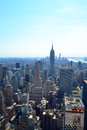 Aerial view of the empire state building and lower manhattan new york ny overlooking midtown financial district in Stock Photo