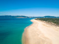 Aerial View Empty Sandy Beach with Small Waves Royalty Free Stock Photo