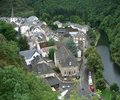 Aerial view of esch sur s re city named sure in luxembourg and river sauer seen from above at summer time Stock Image