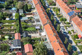 Aerial view family houses with backyards in emmeloord the netherlands residential area of dutch village Stock Photos
