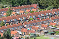 Aerial view family houses with backyards in emmeloord the netherlands residential area of dutch village Stock Image