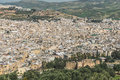 The aerial view of Fes city town in Morocco Royalty Free Stock Photo