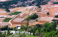 Aerial view of fields the Stock Photo