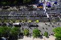 Aerial view of finish line of Belgrade Marathon Royalty Free Stock Photo