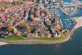 Aerial view of fishing village Stock Photo