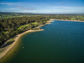 Aerial view of Flinders coastline and pier with moored boats. Me Royalty Free Stock Photo