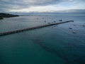 Aerial view of Flinders pier with moored boats. Melbourne, Austr Royalty Free Stock Photo