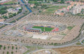 Aerial view of football stadium tilt shift photo Royalty Free Stock Photos