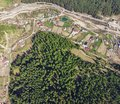 Aerial view of forest and village in countryside of Petru Voda